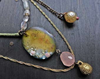 "Layered pink and gold assemblage necklace with rose quartz and vintage bell - ""This Moment"""