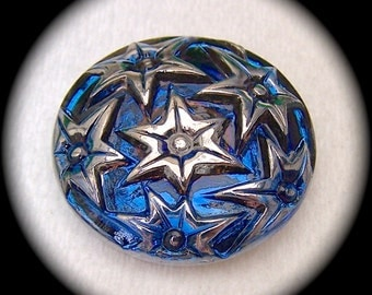 4 Czech Glass Buttons on SALE, 27mm 1-1/16 inch - Starry Night Sky - Silver Luster Stars on Iridescent Cosmos Blue - CLEARANCE