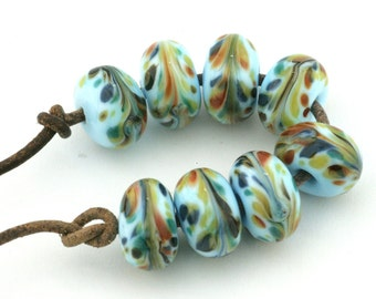 Peacock Handmade Glass Lampwork Beads (8 Count) by Pink Beach Studios - SRA (2247)
