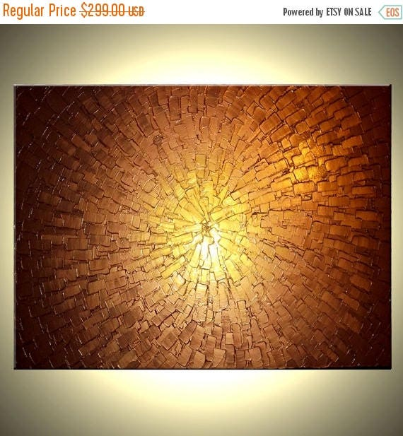 Original Large Textured Painting Contemporary Gold Metallic Abstract Impasto Palette Knife Art Lafferty - 36x48, Sale 22% Off