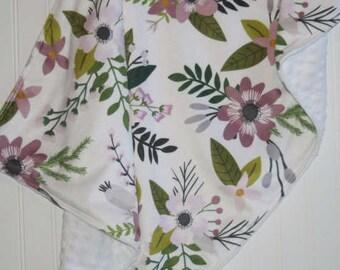 lavender baby blanket | crib blanket | purple minky blanket | floral minky blanket | custom blanket | crib bedding | minky baby blanket