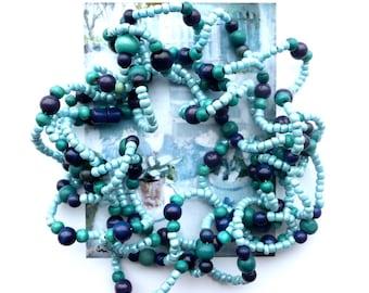 RHYTHM&BLUES Choker, Beaded Choker, Eco Friendly Choker, Cottage Chic Choker, Wavy Choker, Multi Layered Choker, Long necklace