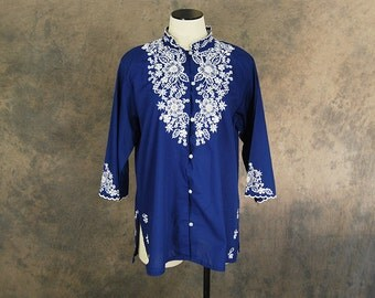 Clearance Sale vintage Asian Blouse - 70s Embroidered Blouse - Navy Blue Ethnic Blouse 1970s Tunic Sz L XL
