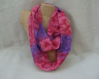 Pink and Purple Watercolor Infinity Scarf - Circle Scarf - Loop Scarf - Handmade USA