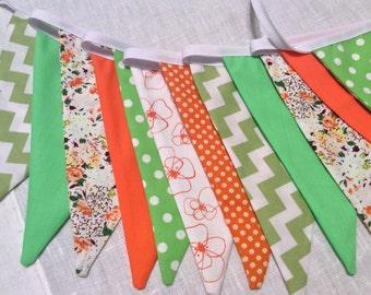 Sale 30% off Orange green bunting - bright shades for Autumn or Fall,  Fabric Garland, Wedding Bunting,