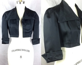 Vintage 30s Black Bolero Jacket Rayon Faille 1930s Wide Collar Peak Cuffs 3/4 Sleeves Excellent Condition Small