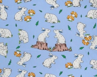 Easter Fabric, Rabbits on Blue/Mauve Cotton Fabric, Easter Rabbit Fabric, Kid's Blue/Mauve Bunny Rabbit Patterned Pure Cotton Fabric