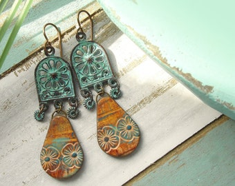 Polymer Clay Earrings Jewelry featuring an Tropical Floral Patina Design in Gold, Brown and Turquoise
