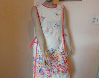 1960's Vintage Floral Apron Dress Sz M-Lg