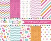 70% OFF SALE Digital Paper Pack Pink Blue Orange Polka Dots Chevron Stripes & Arrows Instant Download