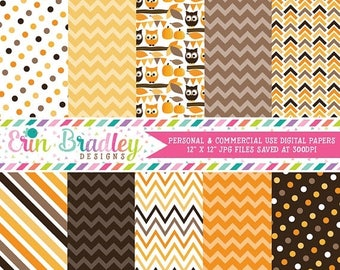 50% OFF SALE Autumn Owls Orange Brown and Yellow Digital Paper Pack Instant Download