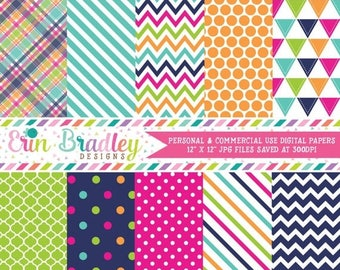 50% OFF SALE Summer Days Digital Scrapbook Paper Pack Pink Blue Green & Orange Digtial Background Patterns Personal and Commercial Use