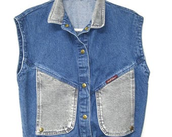 Vintage 80s Jean St Tropez Denim Two Tone Retro Sleeveless Jacket Vest S