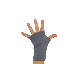 Kid Toddler Arm Warmers in Silver Fox - Grey - Bamboo Fingerless Gloves