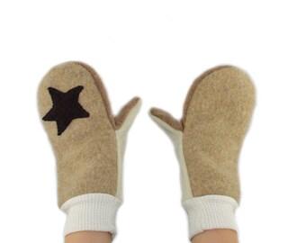 Kids Rockstar Mittens in Caramel Beige - Recycled Wool Sweaters
