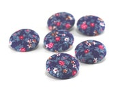 Fabric Button - Flowers of Night - 6 Medium Fabric Covered Buttons, Blue Pink Floral Handmade Buttons Roses, Clothing, Knitting, Sewing OOAK