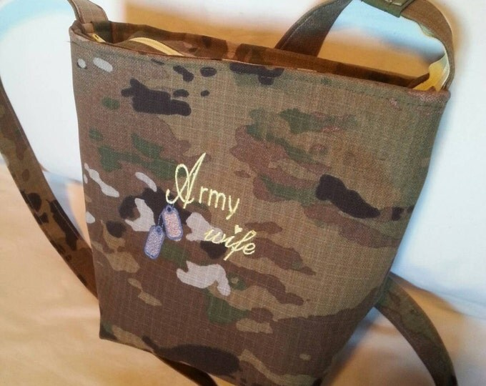Handmade Army wife  custom handbag personalized embroidery your choice of colors gift for her military multicam purse with zipper to close