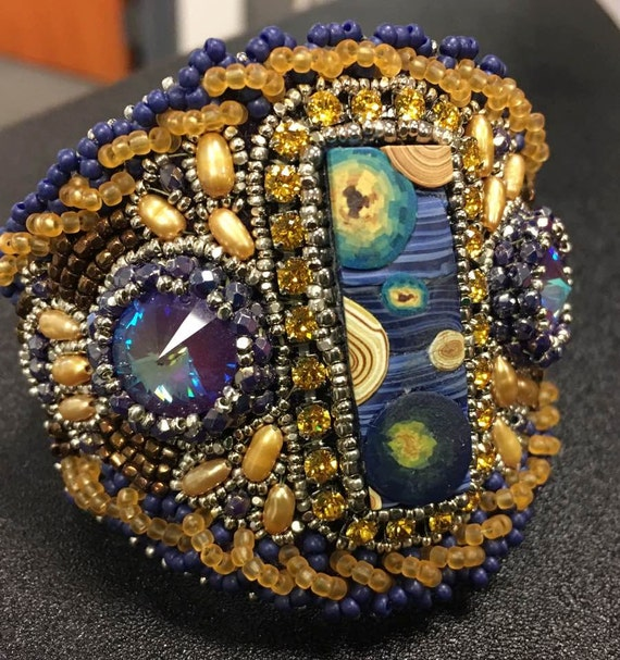Starry Starry Night Beaded cuff