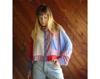 25% off Flash Sale . . . Silk Candy Striped Crop Top Blouse - Vintage 90s - L/XL