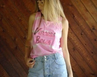 25% off Flash Sale . . . Tie Dye Neon Pink Vintage 90s Virginia Beach Vacation Tank Top XS S