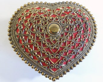 Vintage Ornate Filigree  Brass Heart Shape Jewelry Box Trinket Box Marry Me Engagement Rose Design Footed Jewelry Box Made In Japan
