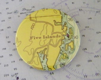 Vintage Chart Pin - Badge -Five Islands - Georgetown - Maine