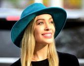 Wide Brimmed Fedora Women's Hat Fall Fashion Fall Accessories Winter Accessories Aqua Blue Hat Teal Hat Women's Fedora Hat Western Style Hat