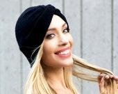 Turban Hat Stretch Black Turban Hat Full Turban Fall Fashion Knit Hat Packable Turban 1940s Turban 1930s Turban 1950s 1960s Turban Tichel