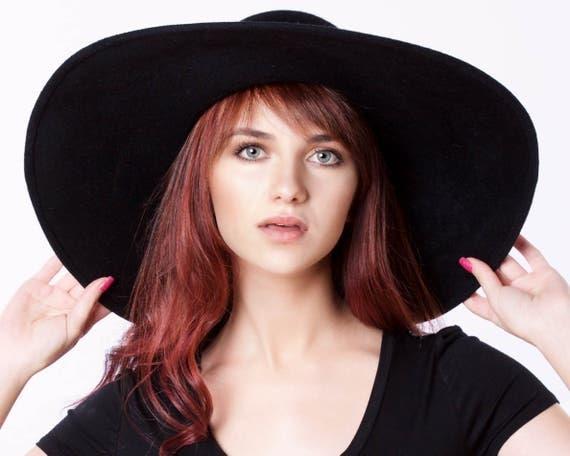 Boho Hat Wide Brimmed Floppy Women's Hat Fall Hat Festival Fashion Hippie Accessory Fall Accessories Fall Fashion Cashmere Black Felt Hat