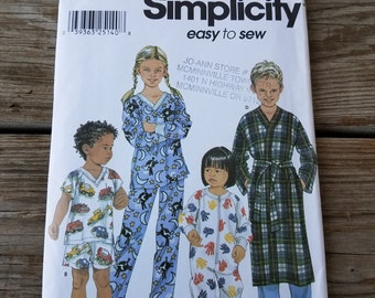 Simplicity Children's Pajamas Pattern 9853 size 1/2, 1, 2
