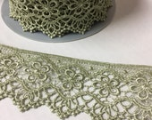 BTY fine Lace trim | French Venise Floral Lace | 2-inch wide lace trim | pale Green 3819 | sage green | free shipping! By the Yard embellish