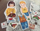 fabric Paper Dolls fishing buddies | ready to cut out clothes + fish camp gear | 2 dolls boy + girl Play Proof | quiet book dollies vintage