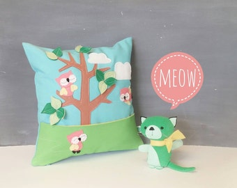Playful Pillow with Kitty - Children, Nursery, Decor, Toy, Kitty, Gift