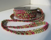 "Multi-colored Ribbon  Loop Trim - Sage/Pink/Gold Color - 3/8"" X 9 Feet Roll"