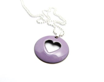 Purple Heart Pendant Necklace - Lightweight Purple Heart Necklace - Lavender Purple Enamel Pendant - Gift for Her