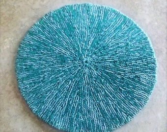 "Buy Bonnie's - Blue/Green Cotton Thread 8.5"" Round Hand Knit Pitcher Coaster/Mat  @ cyicrochet"
