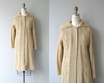 Inishmór wool cardigan | vintage 1960s sweater coat | wool cable knit maxi sweater