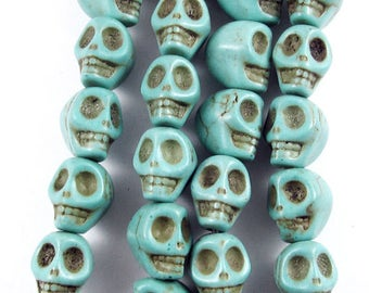 "16"" Gemstone Beads-Blue Green CANDY TURQUOISE SKULLS 8x10mm (40)"