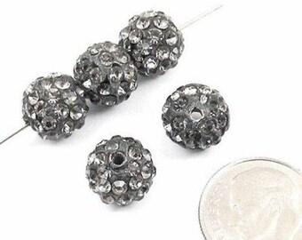 Shamballa Rhinestone Clay Pave Round Beads-GRAY 10mm (5)