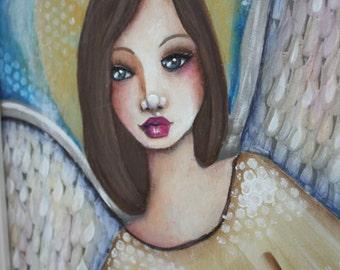 GOLDEN ANGEL  9 x 12  ORIGINAL on wooden canvas panel