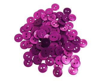 Set of 94 Sleek Shiny Round 2-Holed Plastic Craft Sewing Buttons - Solid Dark Hot Gem Magenta Purple (12mm)