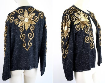 Silky Nites by Cherish Vintage Black and Gold Sequin Trophy Long Sleeve Open Front Clasp Cardigan Jacket