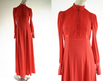 Vintage 70's Red Polyester Multi Button High Neck Long Sleeve Woman's Retro Maxi Dress