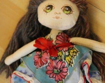 Mini Handmade Art Doll collectible OOAK - Daisy