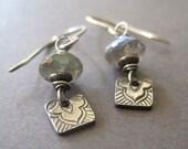 Labradorite Fine Silver Earrings, Gemstone Metal Clay Dangle, Handmade Jewelry