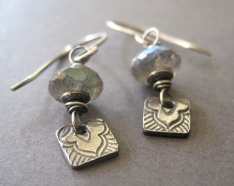 Labradorite Fine Silver Earrings, Gemstone Metal Clay Dangle, Handmade Jewelry
