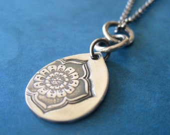 Flower Charm Necklace, Handmade Yoga Jewelry, Sterling Silver Necklace, Metal Clay Jewelry
