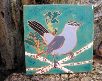 Cat Bird tile,AVAILABLE NOW, Arts and Crafts, , Birders, Kitchen,Bath, Fireplace Surround, or Framed