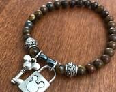 Mickey Mouse Lock and Key Charm Bracelet, Disney Inspired Jewelry,semi precious stone stretch bracelet