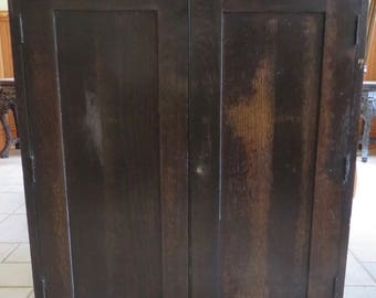 Vintage/Antique Stanley Oak Wall Mounted Tool Two Door Chest